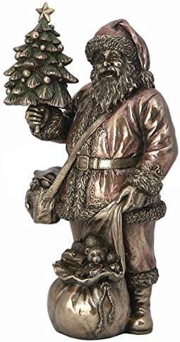 Amazon Com Xoticbrands Santa Holding Xmas Tree Sculpture Statue Figurine Kitchen Dining