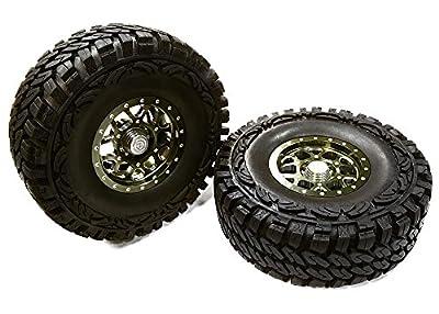 Integy Hobby RC Model C26384GUN Billet Machined B9 Spoke 1.9 Wheel & Tire Set (2) for Scale Crawler (O.D.=113mm)