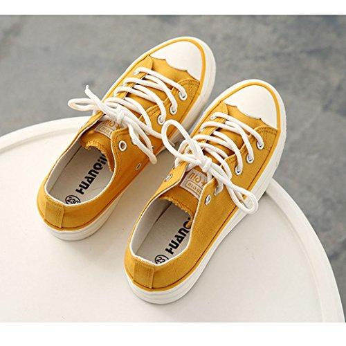 Cordones con Mujer JRenok amarillo Planos Zapatos Fq07UwTt