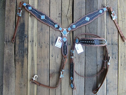 WESTERN HEADSTALL BREASTCOLLAR BROWN GATOR TURQUOISE BLUE SHOW HORSE LEATHER BRIDLE SET