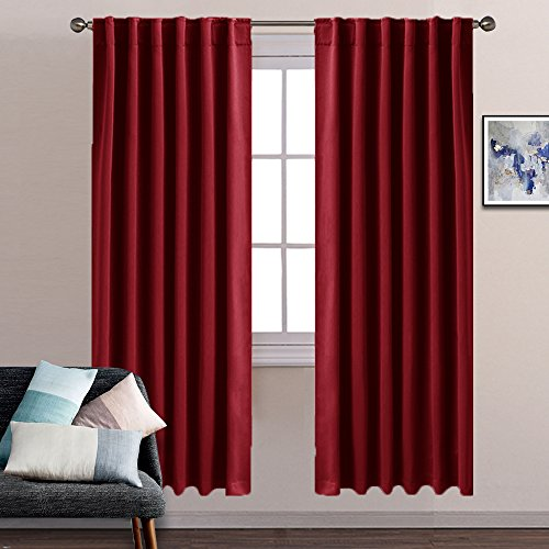 Blackout Curtain Panels Window Curtains - Pony Dance Back Tab / Rod Pocket Thermal Insulated Drapes Blackout Curtains Set for Dining Room Including 6 Back Loops Per Panle,52 by 72 Inch,Red,Panels