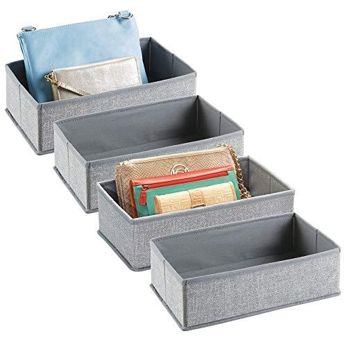 mDesign Rectangular Soft Fabric Dresser Drawer and Closet Storage Organizer Bin for Lingerie, Bras, Socks, Leggings, Clothes, Purses, Scarves - 12