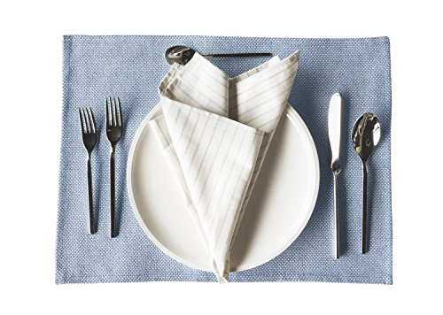 Eco Luxury Placemats, 100% Upcylced Cotton and Denim , Set of 4, Blue Colored, Natural, Durable, Perfect for Every Day Use or Special Occasions, 14 x 20 inches.