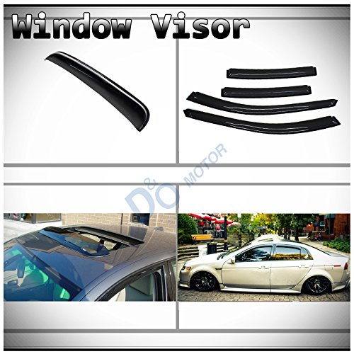 D&O MOTOR 5pcs Combo JDM Smoke Tape-On Moon Roof Shield+Sun/Rain Guard Outside Mount Window Visors for 04-08 Acura TL ()