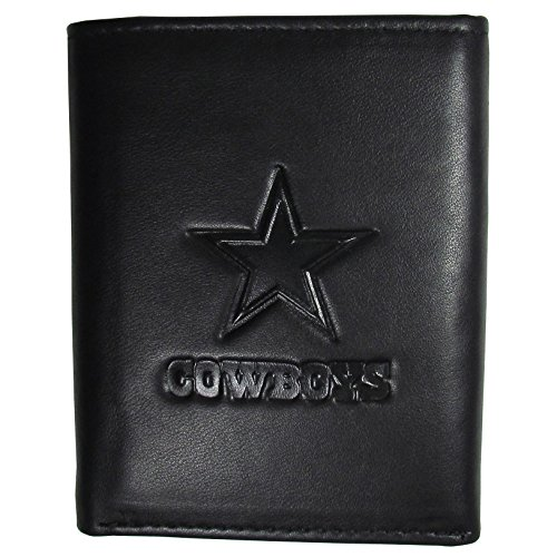 Dallas Cowboys Leather Wallet - Siskiyou NFL Dallas Cowboys Mens Sportsembossed Leather Tri-Fold Wallet, Black, One Size