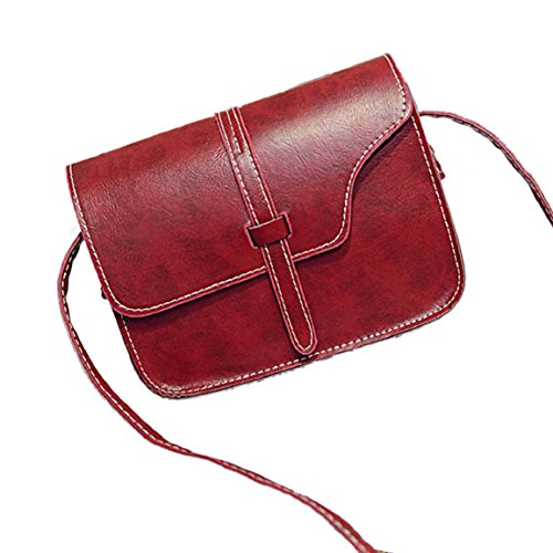 Changeshopping(TM)Women Girl Shoulder Bag Faux Leather Satchel Crossbody Tote Handbag (Red)