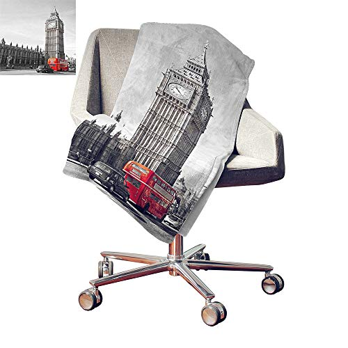 Custom homelife London Lightweight E x tra Big Big Ben Tower Begining of Westminster Bridge with Black Cab and Red Bus Image Throw Blanket Grey Black Red Bed or Couch 80