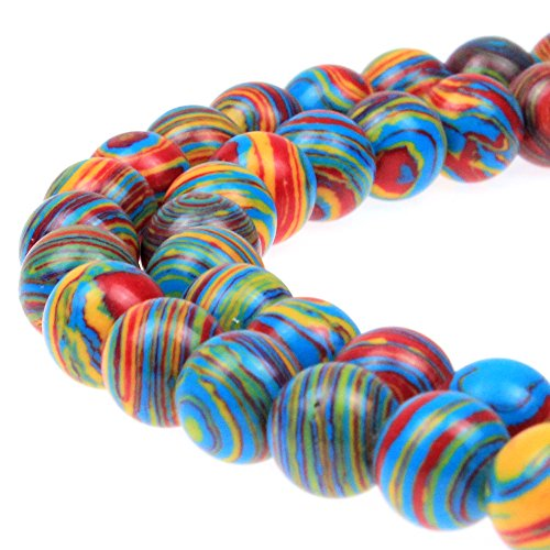 JARTC Synthesis Colour Malachite Beads Beautiful Fashion Round Stone Beads for DIY Jewelry Making 15 (8mm, Blue - red - Yellow)