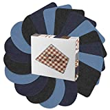 Jean Patches Iron on Patches Denim Knee Patches, Satkago 18Pcs DIY Elbow Repair Oval Patches Sew on Patches Applique for Clothes Jackets Jeans, 3 Color 2 Shapes