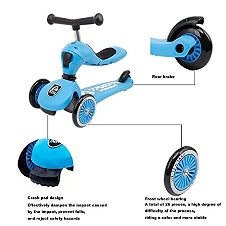 Amazon.com: 2 en 1 Patinete para niños de 3 Rueda Scooter ...