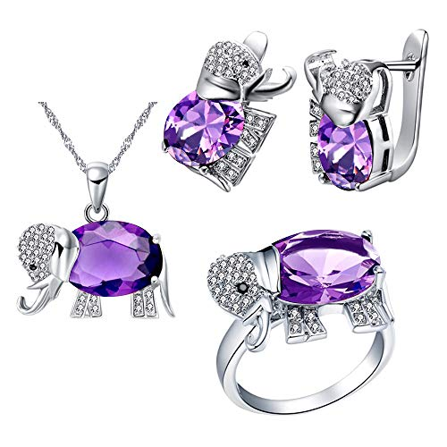 Uloveido Women Platinum Plated Purple Crystal Love Elephant Pendant Necklace Promise Ring and Studs Earrings Jewelry Set for Kids Girls Birthday Gift ()