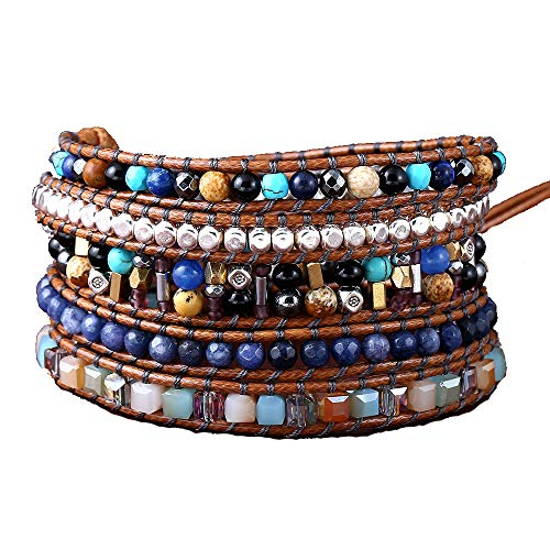(IUNIQUEEN New Creative Dazzling Natural Stone Crystal Bead Statement Bracelet Collection (Mix Stone&Gold))