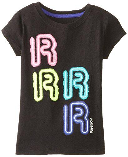 Reebok Little Girls' Neon R Tee, Black, Medium