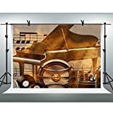 FHZON 10x7ft Abstract Piano Photography Backdrop Musical Note Music Score Sound Background Theme Party YouTube Backdrops Photo Booth Props XCFH487