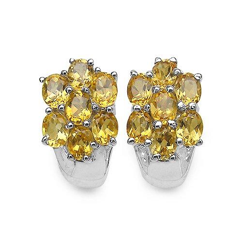 Silvancé - Women's Earrings 925 Sterling Silver Genuine Citrine - E220C