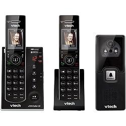 Vtech DECT 6.0 Wireless Audio/Video Doorbell with 2 Cordless Phones, Caller ID, Picture Memory and Handset Speakerphones, Black