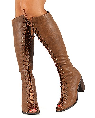 Breckelles BE99 Leatherette Women Peep Toe Lace Up Chunky Heel Knee High Boot - Tan