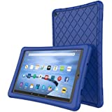 Soft Silicone Case Protector for All-New Amazon Fire HD 10 Tablet (7th Generation, 2017 Release)- [Rhombus Series] Shockproof Silicone Back Cover [Kids Friendly] for Fire HD 10.1 Inches Navy Blue