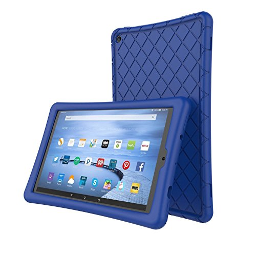 Roscea Soft Silicone Case Protector for All-New Amazon Fire HD 10 Tablet (7th Generation, 2017 Release)-[Rhombus Series]Shockproof Silicone Back Cover [Kids Friendly] for Fire HD 10.1 Inches,Navy Blue
