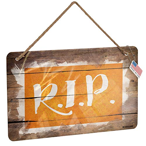 NEONBLOND Metal Sign RIP Halloween Orange Wallpaper Christmas Wood Print]()