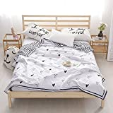 BHUSB Cute Girls Boys Love Heart Summer Quilt Thin Comforter Reversible Striped Twin Bedding Coverlet 100% Long Staple Cotton Lightweight Soft Blanket for Kids Student by (Style07, 180x200cm)
