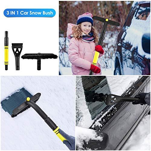PACETAP Snow Brush for Car Extendable Ice Scraper for car windshield Snow Car Scraper with Ergonomic Foam Grip Detachable Scraper - 360° Pivoting Head -No Scratch - Snow Brush for Car Auto SUV