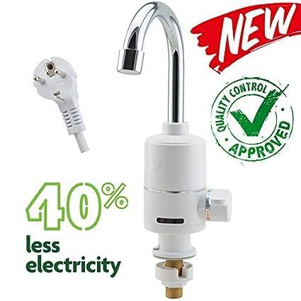 EuroQuality - grifo eléctrico con interruptor para agua fría y caliente, calefactor