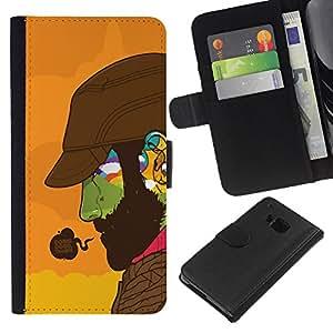 A-type (Haciendo Buena Cara colorida) Colorida Impresión Funda Cuero Monedero Caja Bolsa Cubierta Caja Piel Card Slots Para HTC One M7