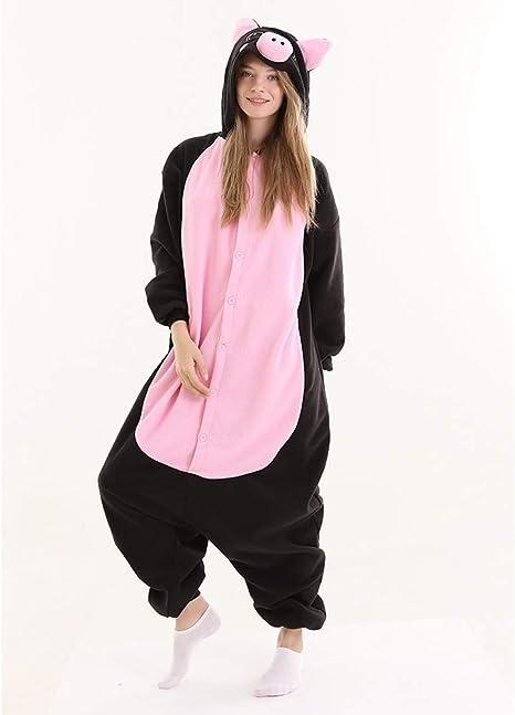 JIAWEIDAMAI Disfraz de Cerdo Negro Kigurumi Onesies para Hombre ...