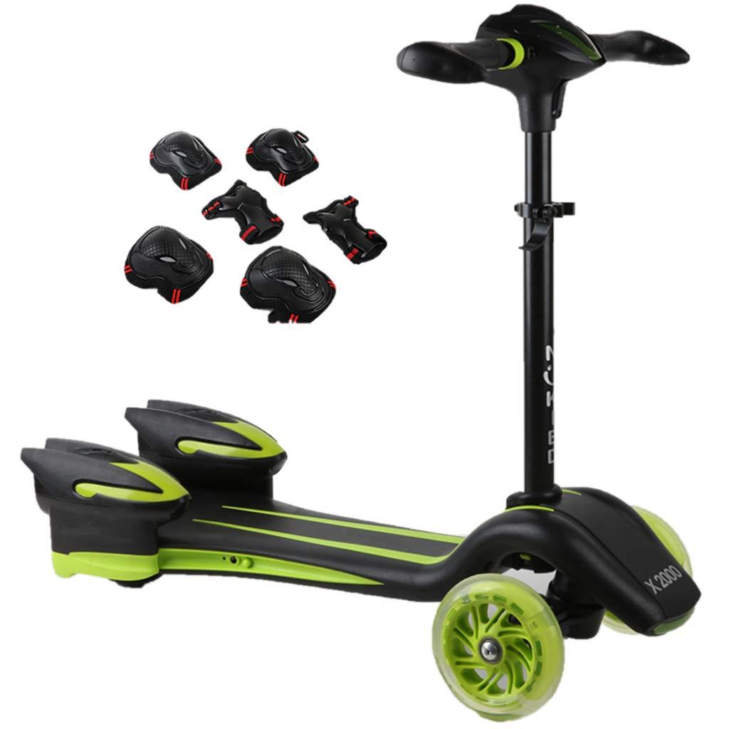 キックボード キックスクーター 男子スクーター防護服、ライトアップホイールキックスクーターワイドデッキと調整ハンドル、黒 (色 : Green)  Green B07L4MZTCT