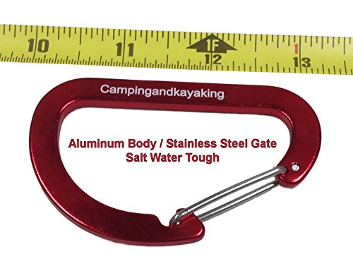 "C&K 8cm, (3.12"") 4 pk or 6 pk Aluminum Carabiner with Stainless Steel Gate, Salt Water Tough. Designed Especially for Kayaking Hiking and Camping, Not for Climbing."