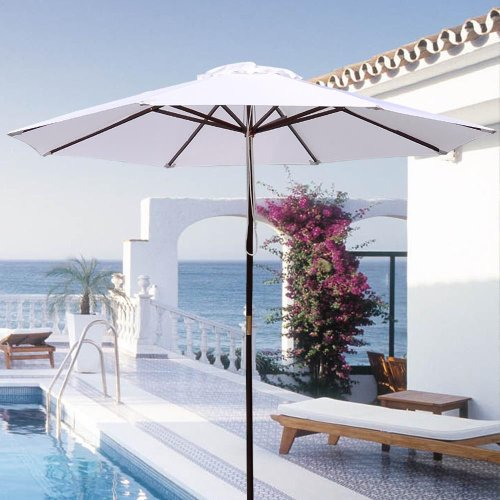 - New Patio Furniture 9' 8-rib Sun Shading Umbrella W/solid Wood Pole in White