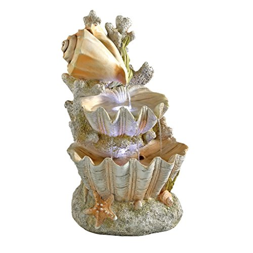 Design Toscano Ocean's Bounty Seashell Coastal Garden Decor Cascading Fountain Water Feature, 20 Inch, Polyresin with LED Lights, Full Color