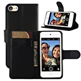 Fettion iPod Touch 5 / 6 Gen Cases, Premium PU Leather Wallet Flip Case Cover with Stand Card Holder for Apple iPod Touch 5th / 6th Generation 2015 Released (Wallet - Black)