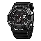 ETEVON Men's Multifunction Military Digital Sport Watch Waterproof Alarm EL Backlight Date, Black Large Display Outdoor Army Watches for Men Kids