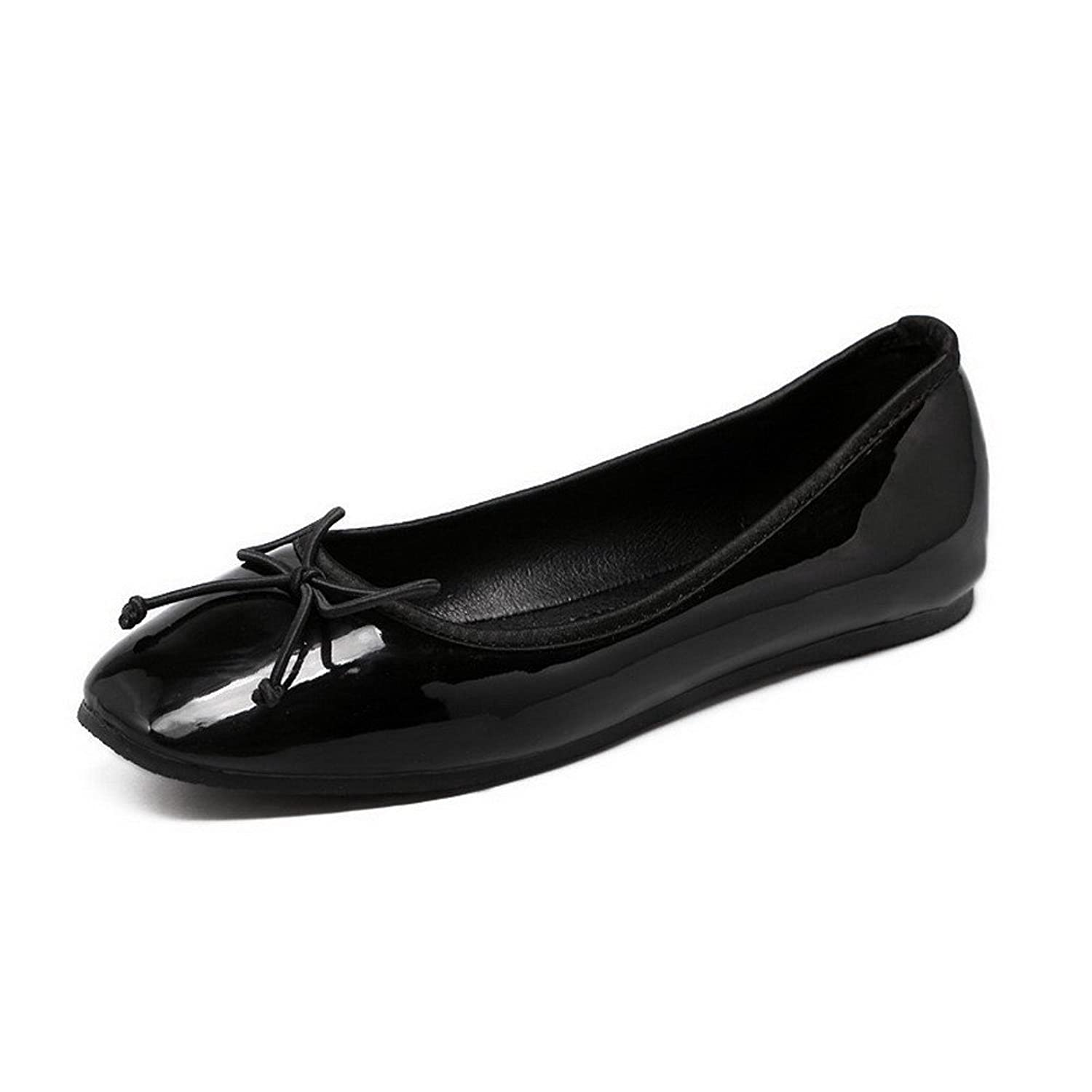 AalarDom Women's Patent Leather Square Closed Toe Pull-On Flats-Shoes with Bows and Knot