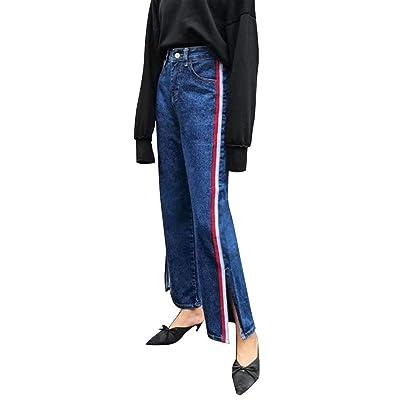 ADELINA Pantalones Vaqueros Delgados De Mezclilla De Pantalones Las Ropa Mujeres De La Raya Lateral Divididos Pantalones Informales Bolsillos Delanteros De Cintura Alta Pantalones Vaqueros del Botón: Ropa y accesorios