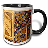 3dRose Gold and Persian blue Arabian floral abstract - Islamic vintage art - Islam Arabic ethnic Muslim - Two Tone Black Mug, 11oz (mug_162524_4), 11 oz, Black/White