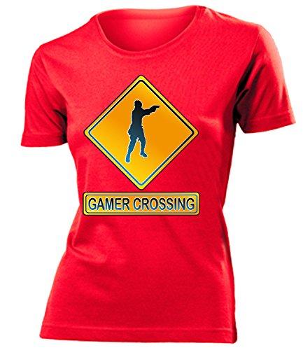 GAMER CROSSING mujer camiseta Tamaño S to XXL varios colores Rojo / Blanco