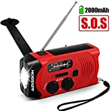 〖Upgraded SOS Version〗AIRSSON Emergency Solar Hand Crank Portable Radio with Battery Indicator, Wind up Weather Radio for Household&Outdoor with AM/FM, LED Flashlight, 2000mAh Power Bank USB Charger