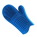 Pet Grooming Glove Double-sided Use Hair Remover Mitt Gentle Deshedding Glove Perfect for Dogs Cats 1 pack - Blue