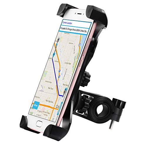 Yoassi Bike Phone Mount, with Shock-Absorbing Pad & Four Slide-Proof Clamps, 360 Degrees Rotatable Holder Cradle for Motorcycle/Bike Handlebars, Fits Universal iOS Android Smartphones, GPS, etc. (Best Way To Get Locking Wheel Nuts Off)