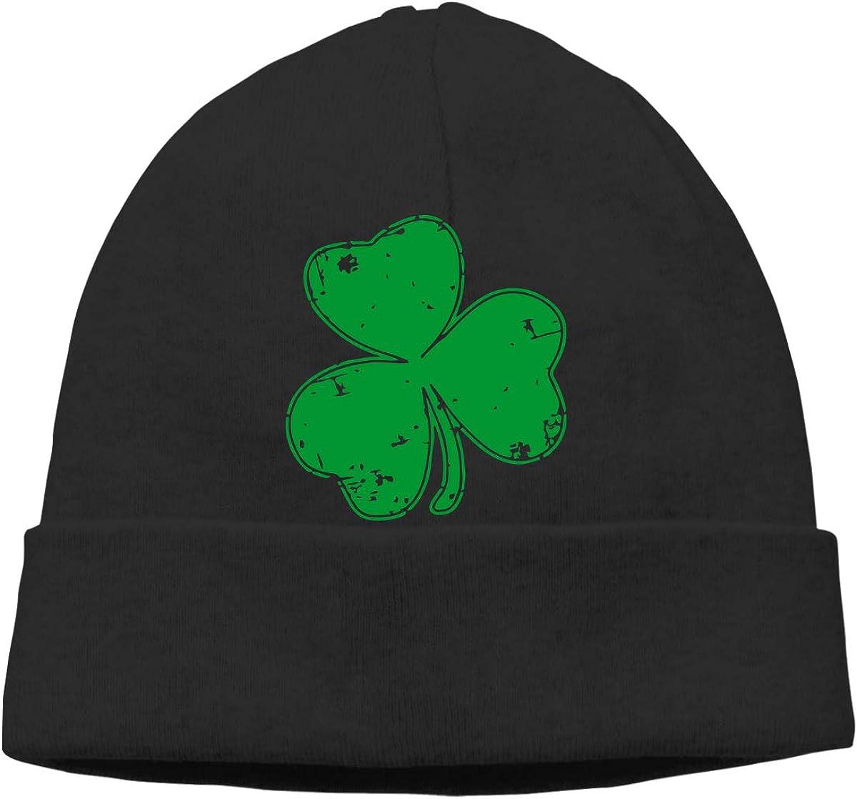 Men Women Vintage Irish Shamrock Soft Skull Beanie Cap