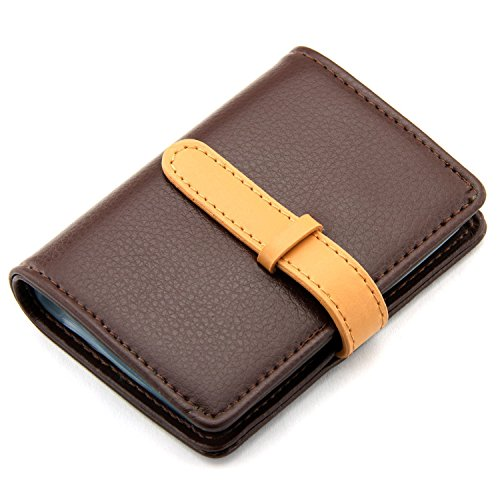 DKER PU Leather Credit Card Holder with 26 Card Slots - Book Style - Size 4.2 X 3 X 0.7 Inches (Brown)