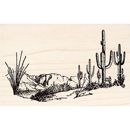 Amazon Cactus Mesa Desert Scene Rubber Stamp Arts Crafts Sewing