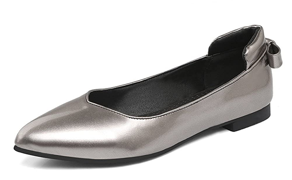 Aisun Womens Comfort Casual Pointed Toe Wear to Work Slip On Flats Shoes with Bows