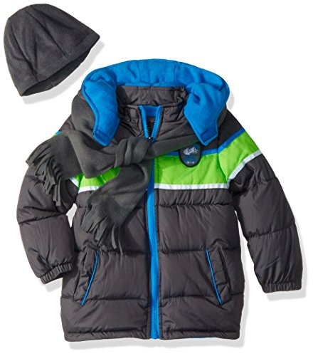 iXtreme Toddler Boys' Colorblock Gwp Puffer, Charcoal, 4T