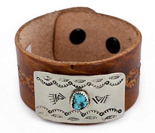 $150 Retail Tag Handmade LEATHER Bear paw Feather Authentic Made by Charlene Little Navajo Natural Turquoise Native American Bracelet