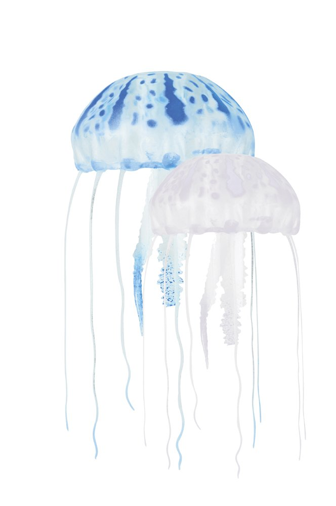 (7.6cm  Med 2pk, bluee clear) Floating Jellyfish Dcor 2 pack