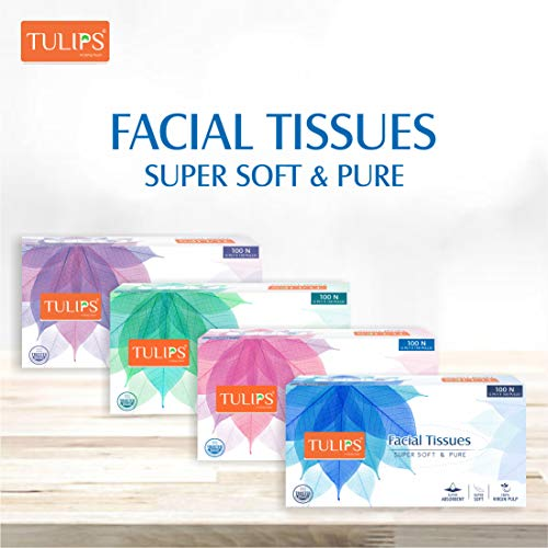 Tulips Facial Dry Tissue Paper, Super Soft, Super Absorbent & 100% Pure, 2Ply x 100 Pulls (Pack of 4) Price & Reviews